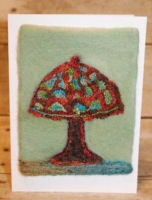 Needle felted Wool Art Nouveau style Lamp, Blank Greeting Card Melissa Philbrook