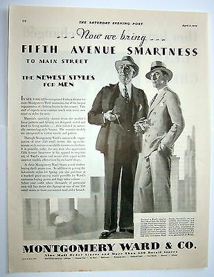 Vintage Print ad 1930 Montgomery Ward Suits 5th Ave. Smartness to Main Street