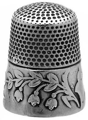 """Antique 'Lily of the Valley' Sterling Silver Thimble """"From Mother"""" *C.1880s"""
