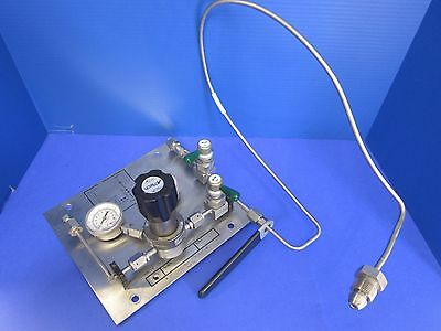 N2 Gas Panel Assy w/ Aptech AP1010S Regulator & CGA 580 Bottle Fitting, Used