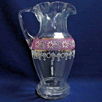 Late Victorian Hand Blown & Enamel Decorated Glass Pitcher w/ Applied Handle