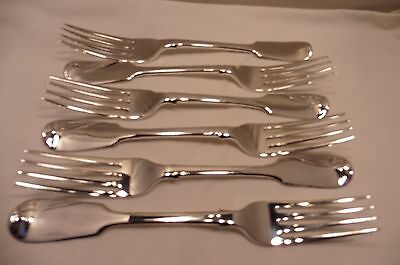 Good Antique Sterling Silver Set Of Six Fiddle Back Dinner Forks London 1835