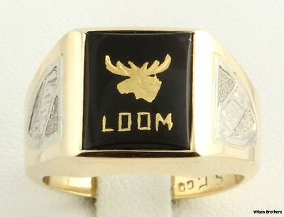 Loyal Order of Moose - Vintage LOOM Ring 10k Yellow White Gold Onyx Size 8