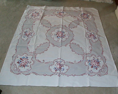Vintage 1940's/50's Cotton Tablecloth With Flowers