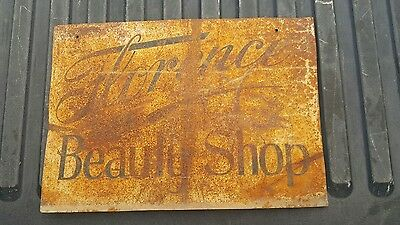 "Vintage Antique Double Sided  Metal Sign ""florence Beauty Shop"" Hair Salon"