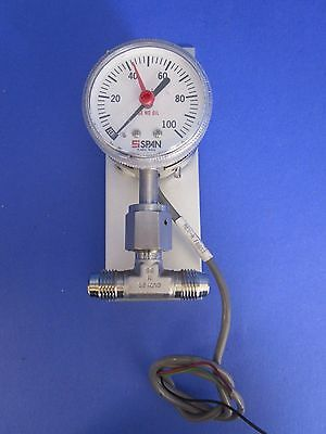 """SPAN IPS 122 TYPE 2 Indicating Pressure Switch, 0-100 psi w/ 1/4"""" MVCR Tee, Used"""