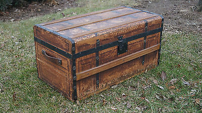 """LARGE ANTIQUE 1859 WOOD TRUNK - 14.5"""" TALL x 28.0"""" WIDE x 15.0"""" DEEP"""