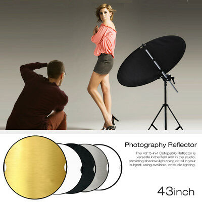 "New Portable Multi Disc 43"" Photography Reflector 5-in-1 Circular Collapsible"