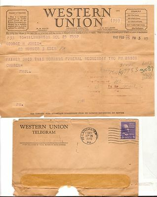 1940 Postmarked Western Union Envelope with telegram funeral information