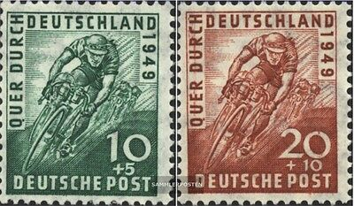 Bizonal (Allied Cast) 106-107 (complete issue) with hinge 1949 Cycling