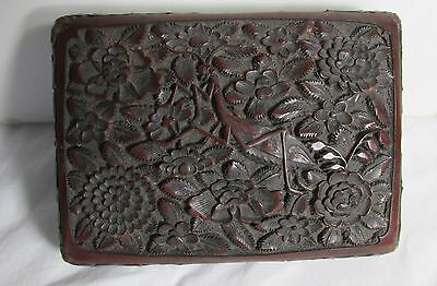 Chinese Antique Old Carved  Red Tick Cinnabar Covered Box Asian China