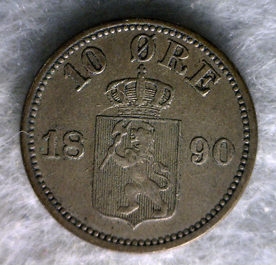 NORWAY 10 ORE 1890 VERY FINE SILVER COIN (stock # 0093)