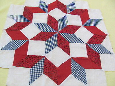 20 Star of Bethlehem quilt blocks early 1900's hand stitched some turkey red