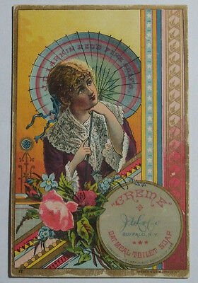 1800's Victorian Trade Card Creme Oatmeal Toilet Soap Dist D Weidman Albany Ny