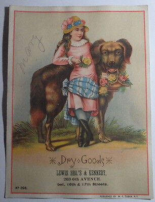 1800's Victorian Trade Card Lewis Bros & Kennedy 263 Sixth Ave New York Ny