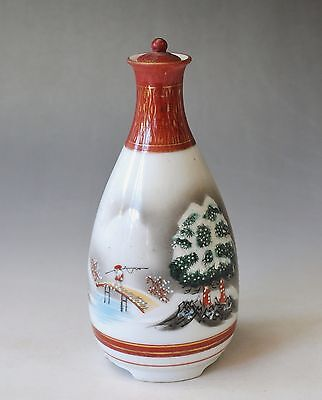 Japanese Antique KUTANI ware SAKE TOKKURI Bottle with Lid Handpainted