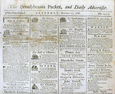 1786 Philadelphia PA newspaper JOHN DUNLAP 1st printed DECLARATION INDEPENDENCE