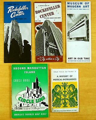 NEW YORK CITY Lot Brochures +  1957 ROCKEFELLER CENTER MUSEUMS Circle Line Guide