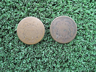 1864 and 1867 U.S. 2C Two Cent Pieces Coins