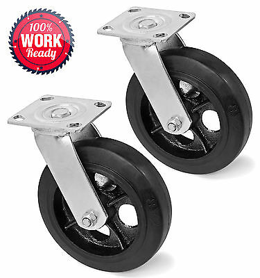 "Heavy Duty Swivel Caster Wheels 8"" x 2"" - Set of 2"