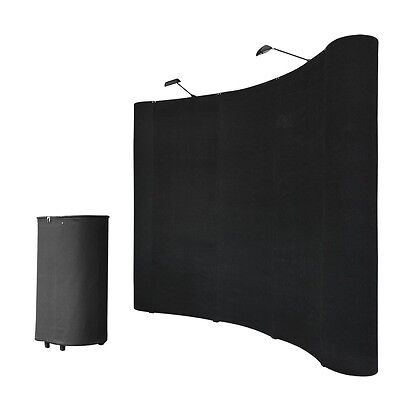 8ft Portable Black Display Trade Show Booth Exhibit Pop Up Kit W/Spotlights