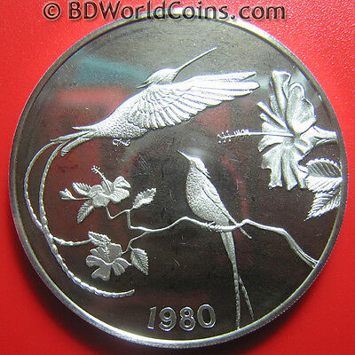 1980 Jamaica $10 Silver Proof Hummingbirds Flowers Flora Fauna Mint=5,394 Coins!