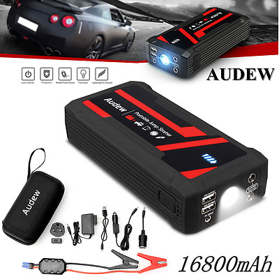 AUDEW LED 16800mAh Portable Car Jump Starter Booster Charger Battery Power Bank