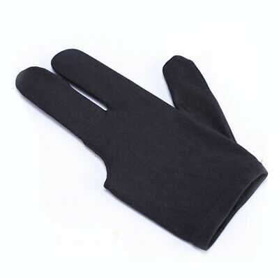 1×Spandex Snooker Billiard Cue Glove Pool Left Hand Three Finger Accessory Black