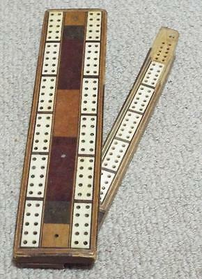 Antique Inlaid Wooden Three Player Cribbage Board c1890 with Some Damage