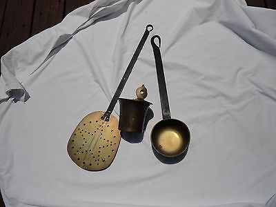 Antique French Brass & Iron Ladle, primitive metal strainer & brass matchstick h
