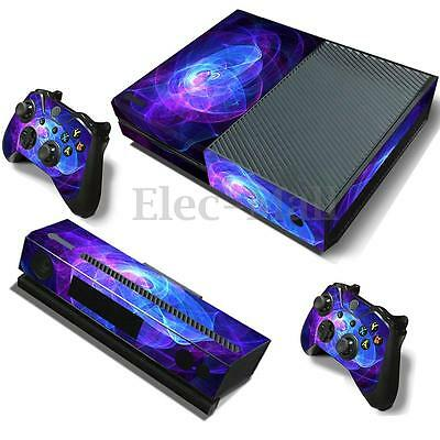 Purple Vinyl PVC Decal Skin Stickers Cover For Xbox One Console + 2 Controller