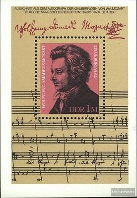 DDR block62 (complete.issue) first-day stamp used 1981 Mozart