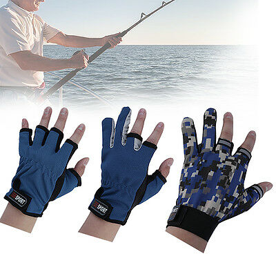 1Pair Skidproof ANTI-SLIP 3 Low Fingers Cut Fishing Gloves Fish Clothing Gear AU