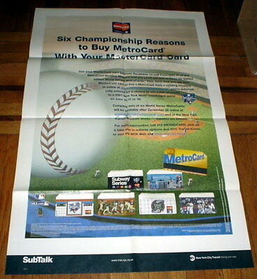 2000 Subway World Series Metrocard Poster  Un-Released Ny Mets Ny Yankees