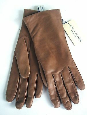 NWT LORD AND TAYLOR Women's BROWN LEATHE GLOVES/Sz 7/CASHMERE LINING/VERY ELEGNT