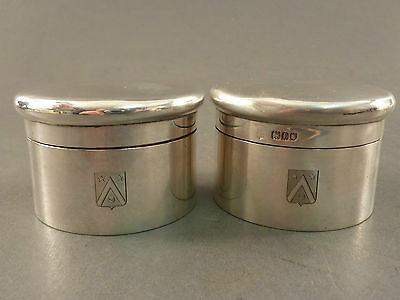 Quality Pair Of Silver Screw Top Jars, Drew Of Piccadilly