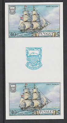 Tuvalu 3103 - 1986 SHIPS  40c  IMPERF GUTTER PAIR unmounted