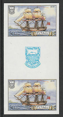 Tuvalu 3104 - 1986 SHIPS  50c  IMPERF GUTTER PAIR unmounted