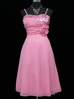 Cherlone Chiffon Pink Prom Ball Evening Bridesmaid Wedding Knee Length Dress 12