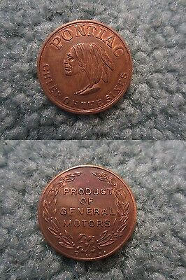 Vintage Pontiac General Motors Chief Of The Sixes Coin Token 1950's Advertising