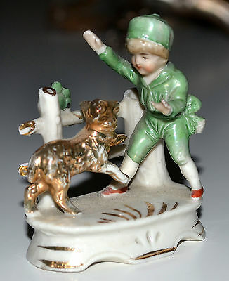 Small Vintage Germany Porcelain Figurine, Boy Playing With Dog Vase, Gold Trim