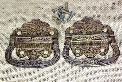 2 drop Handles Tool Box chest trunk Pulls old vintage rustic decorated 1871 pat