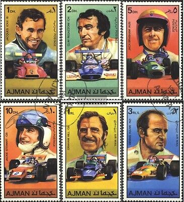 Ajman 1061-1066 (complete issue) used 1971 Famous Racing