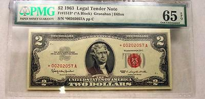 1963 $2 RED SEAL *STAR* A BLOCK U.S. NOTE, PMG 65 EPQ GEM UNC #2057A pp C