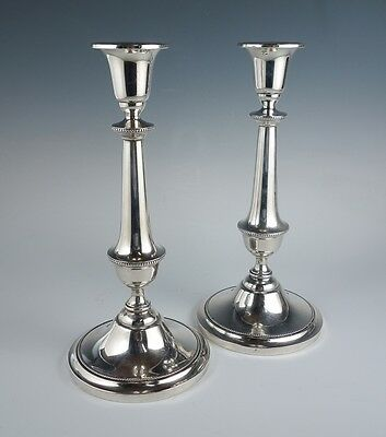 Fine Pair Vintage Early 20c Watson Beaded Sterling Silver Candlesticks