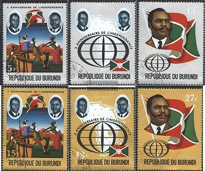 Burundi 869A-874A (complete issue) used 1972 10. Anniversary th