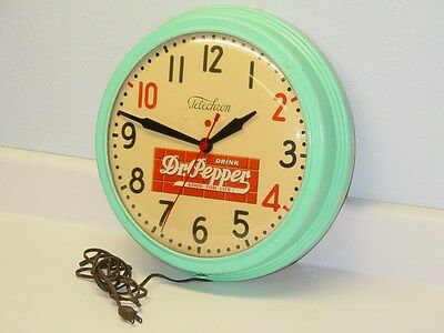 Vintage Dr. Pepper Electric Clock, 10-2-4, Glass Dome, Telechron Co. Mass. Works