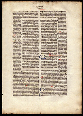 St Augustine of Hippo 1494 Incunable Leaf The City of God Commentary Christian
