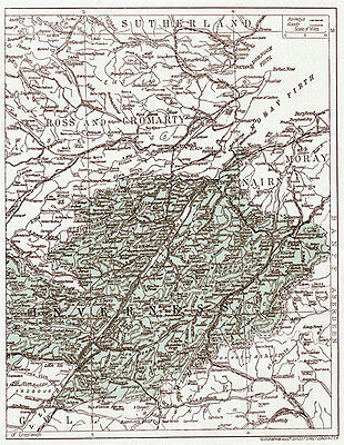 1923 map Old Inverness ready-mounted antique print SUPERB
