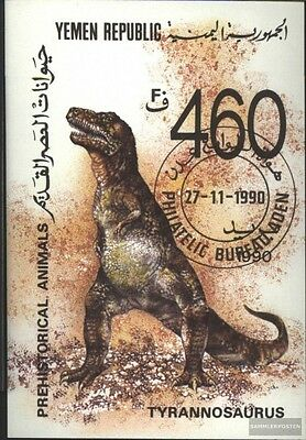 Yemen (republic.) block4 (complete issue) used 1990 Prehistoric